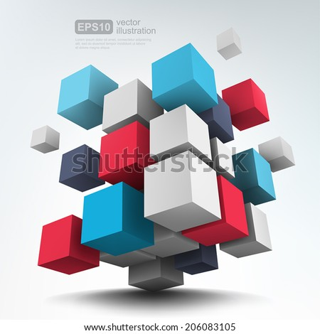 Vector Illustration of abstract 3d cubes. Background design. - stock vector