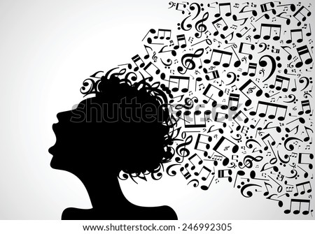 Vector illustration of abstract. face silhouette in profile with musical hair. Musical creativity concept - stock vector