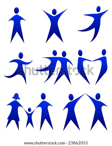 vector illustration of abstract figure movements - stock vector