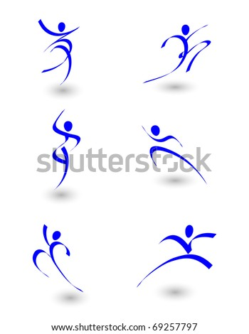vector illustration of abstract figures in motion
