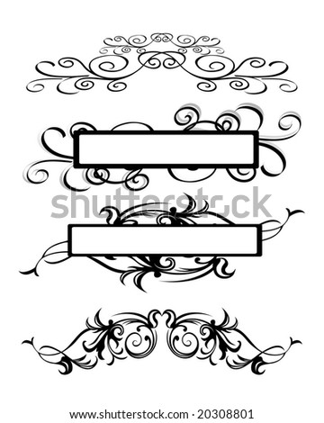 vector illustration of abstract floral text frame