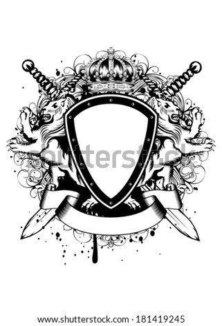 Vector illustration of abstract frame with crown, crossed swords, heraldic lions and an ornament - stock vector