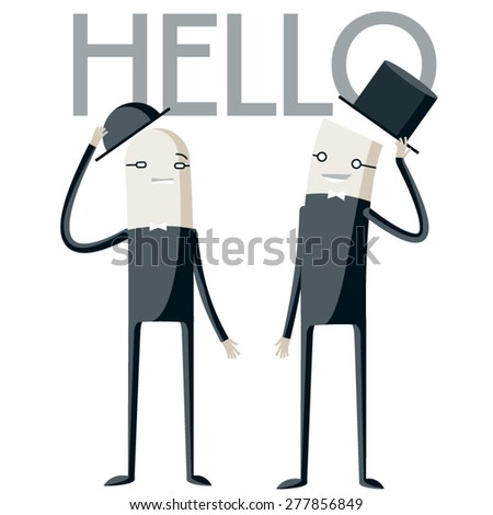 Vector illustration of abstract funny characters. Two  polite businessmen say hello each other - stock vector