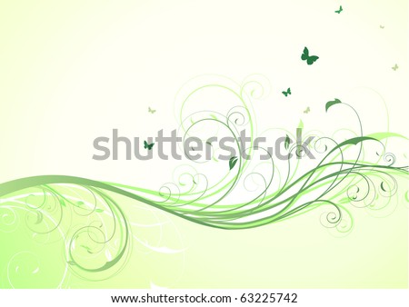 Vector illustration of abstract green floral Background - stock vector