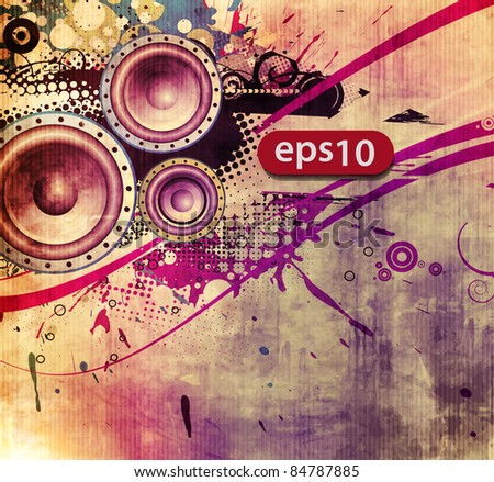 vector illustration of abstract grunge loudspeakers. - stock vector