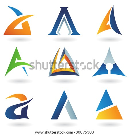 Vector illustration of abstract icons based on the letter A - stock vector