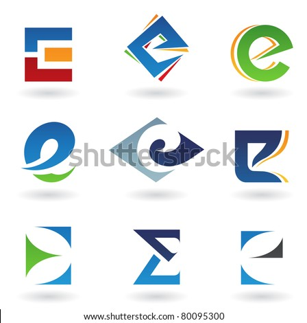 Vector illustration of abstract icons based on the letter E - stock vector