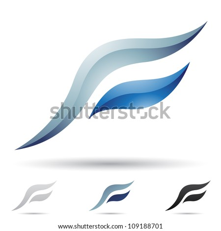Vector illustration of abstract icons based on the letter F - Set 6 - stock vector