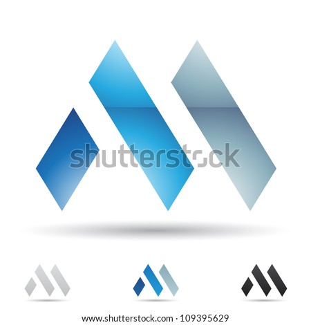 Vector illustration of abstract icons based on the letter M - stock vector