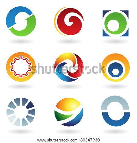 Vector illustration of abstract icons based on the letter O - stock vector