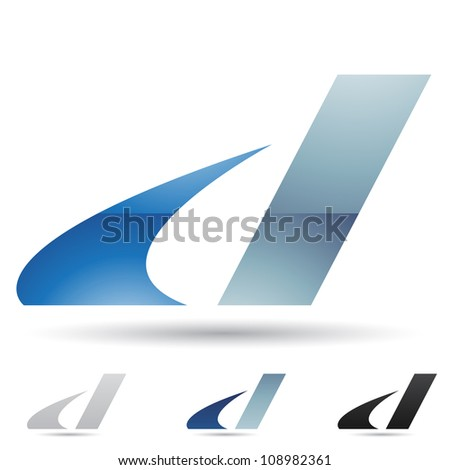 Vector illustration of abstract icons of letter D - Set 9