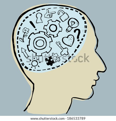 Vector illustration of abstract man's head with mechanism and different thoughts inside his brain: question, answer, ideas, directions, nature, love, puzzle, key, keyhole, lock, light bulb. - stock vector