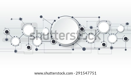 Vector illustration of abstract molecules and communication  technology concept with label circles design and space for your content, business, social media, network and web design.   - stock vector