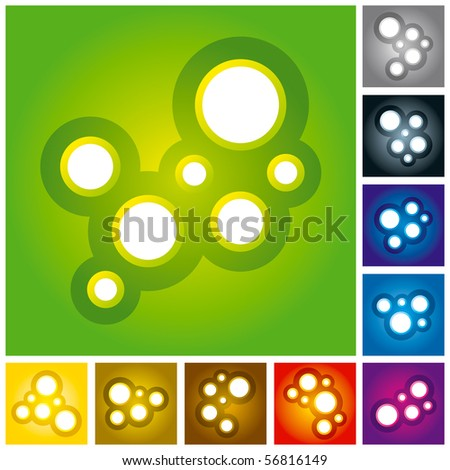 """Vector Illustration of Abstract Molecules or Bubbles - Multi Colored.  """"Full compatible. Created with gradients."""" - stock vector"""