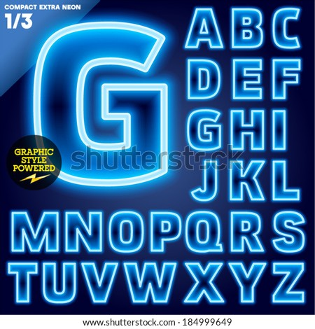 Vector illustration of abstract neon tube alphabet for light board. Blue Compact Bold - stock vector