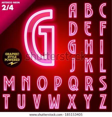 Vector illustration of abstract neon tube alphabet for light board. Red Art deco - stock vector