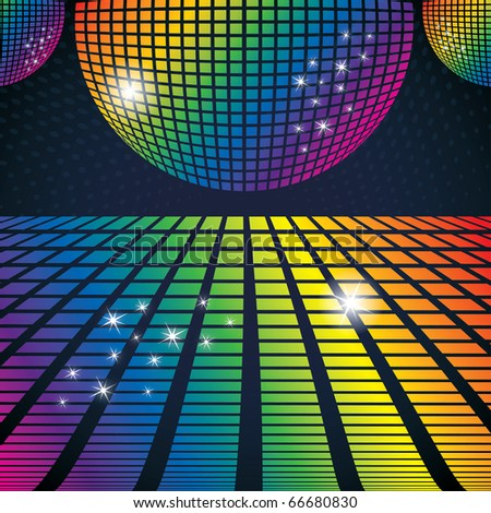 Vector illustration of abstract party background with disco ball - stock vector