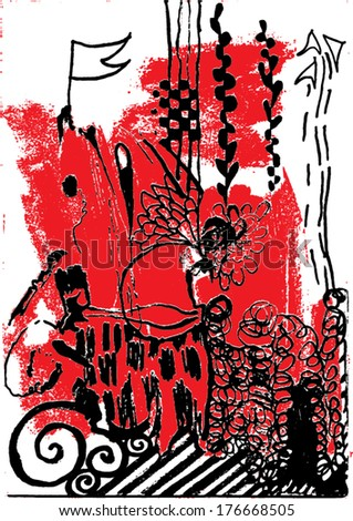 Vector illustration of abstract red / black hand drawn image. Imagination, flag, nightmare, swirls. - stock vector