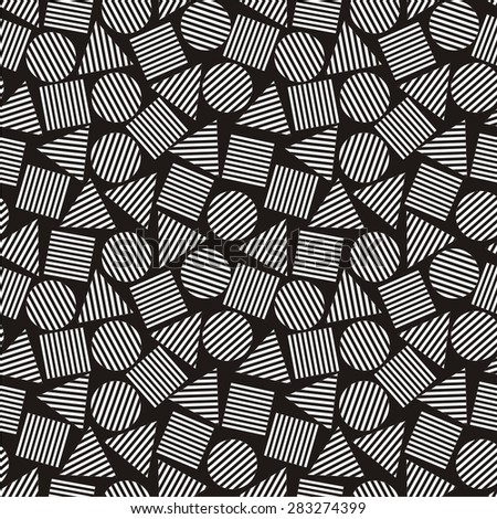 Vector illustration of abstract seamless black-and-white pattern with geometric figures - stock vector