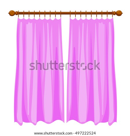 Vector Illustration Of Abstract Violet Cartoon Curtains On The Ledge