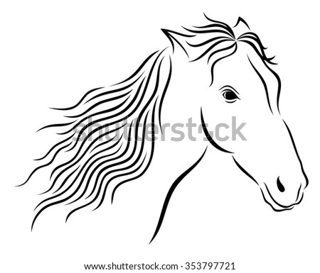 Vector illustration of abstract wild horse's head on white background. Black and white.