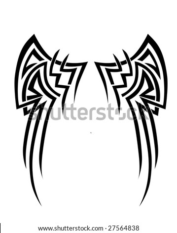 vector illustration of abstract wings tribal design - stock vector