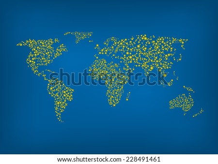 Vector illustration of Abstract world map. EPS-10. - stock vector