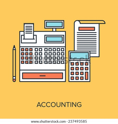 Vector illustration of accounting flat line design concept. - stock vector