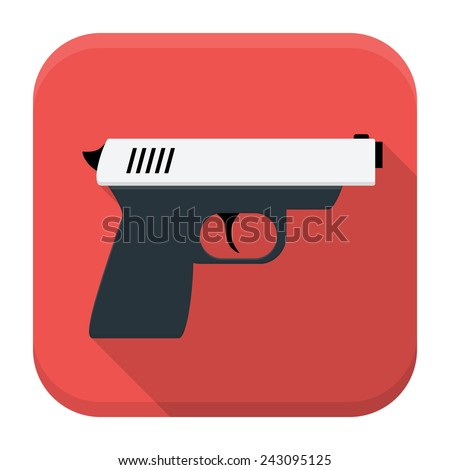 Vector illustration of action movie gun. Flat app square icon with long shadow. - stock vector
