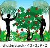Vector Illustration of Adam warning Eve not to eat the forbidden fruit in the Garden of Eden. - stock vector