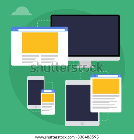 Vector illustration of adaptive web design on different devices. Flat design - stock vector