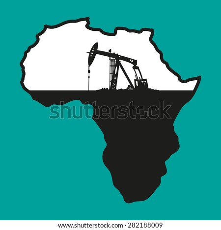 Vector illustration of Africa as it is being emptied from all the oil - stock vector