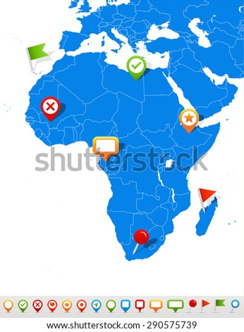 Vector illustration of Africa map and navigation icons - stock vector