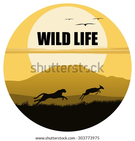 Vector illustration of africa. wild life. hunting. africa logo. Jaguar and antelope. - stock vector