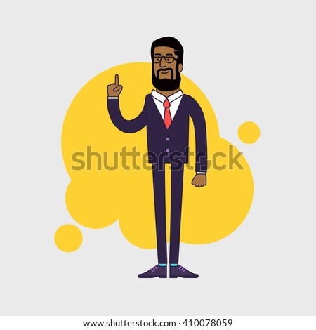 Vector illustration of African American businessman showing his forefinger. Good idea or attention gesture. Linear flat design. - stock vector