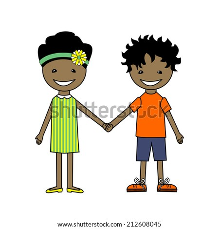 vector Illustration of African Kids Holding Hands isolated on white background