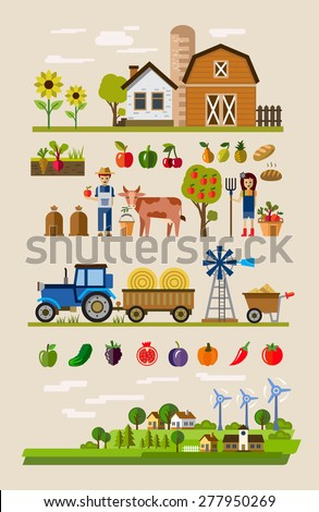 vector illustration of Agriculture and Farming icons - stock vector