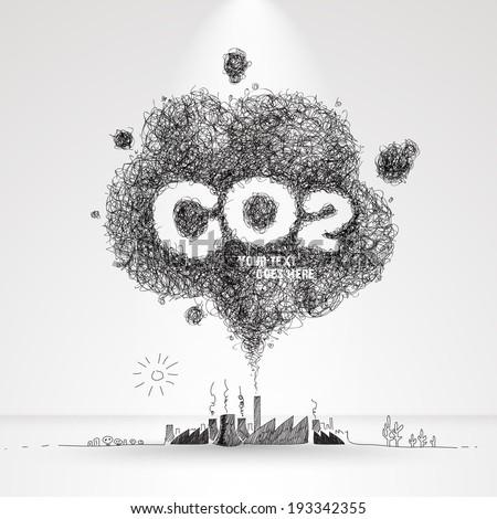 Vector Illustration of Air Pollution. - stock vector
