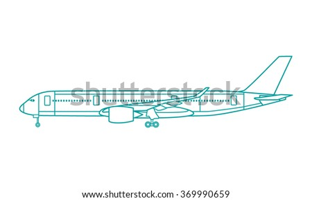 Vector illustration of airliner made in flat style. Vector airplane icon, profile view - stock vector