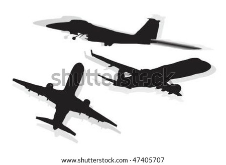 Vector illustration of airplane. - stock vector