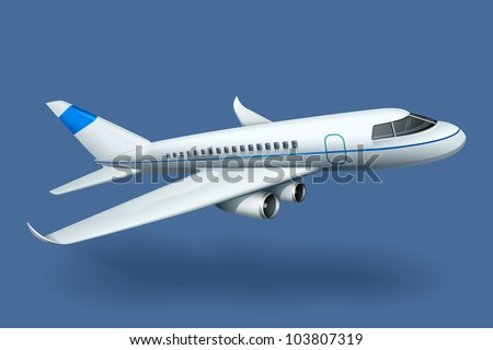 vector illustration of airplane against plain background - stock vector