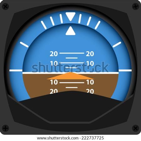 vector illustration of airplane attitude indicator - stock vector