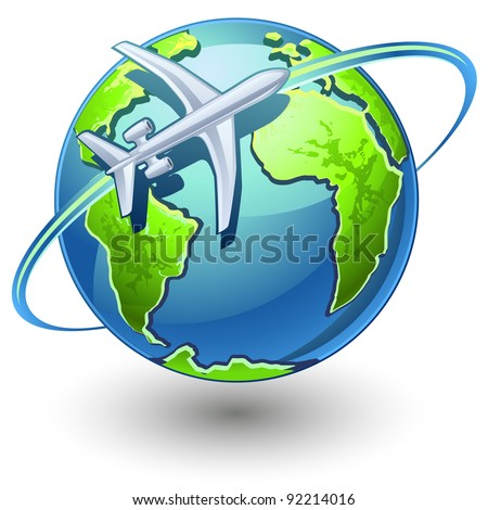 Vector illustration of airplane flying the earth on white background - stock vector