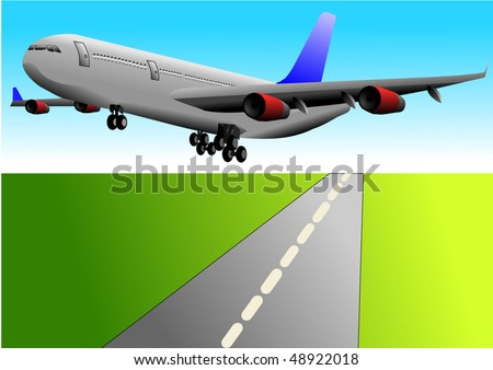 Vector illustration of airplane or airbus plane taking off over the runway   - stock vector