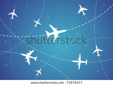 Vector Illustration of Airplane Routes And Stars - stock vector