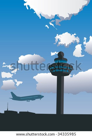 Vector illustration of airport control tower and flying airplane - stock vector