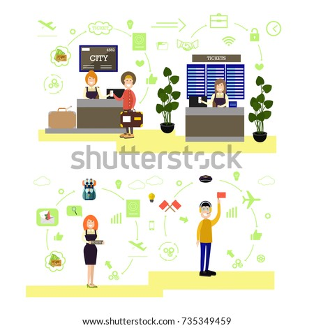 Vector illustration of airport ticket counter, ramp agent and passengers. Airport people symbols, icons isolated on white background. Flat style design.