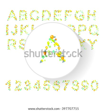 Vector illustration of alphabet with light bulb. Letters from A to Z - stock vector