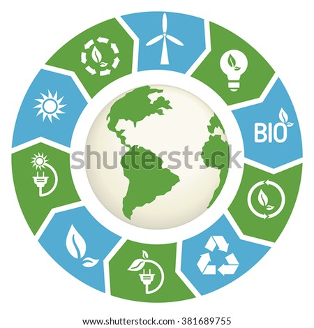 Vector illustration of alternative energy infographic elements. Alternative energy concept. - stock vector