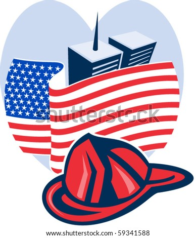 vector illustration of am unfurled American flag  with world trade center twin tower building in the  background set inside heart - stock vector